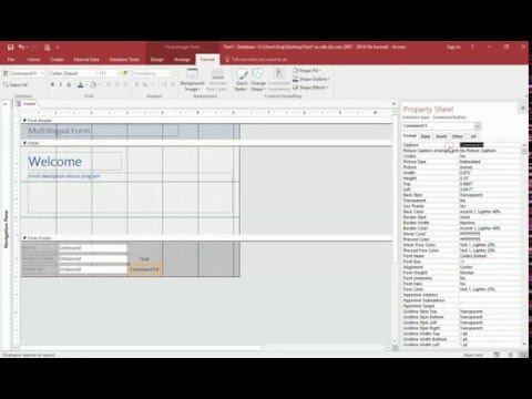 Creating a multilingual form in Microsoft Access 2016,2013,2007