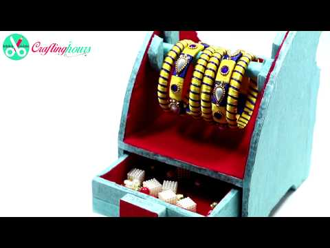 How to Make Mini Jewellery Box cum Bangle Stand with Waste Cardboard