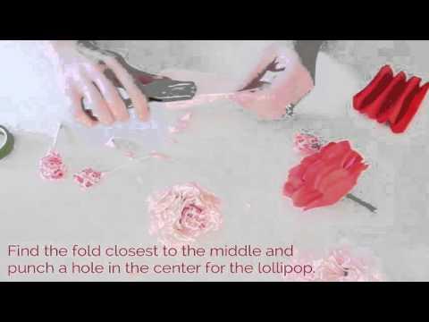 Tissue Paper Flower Lollipops-a Valentine's Day Craft