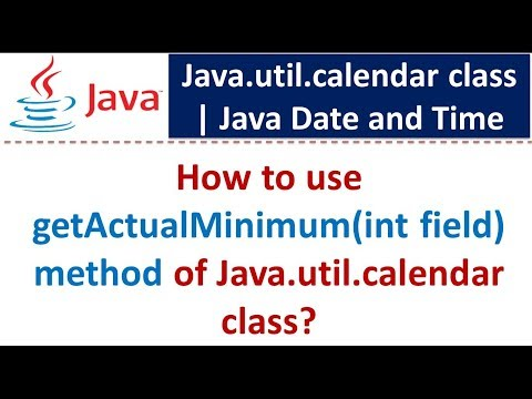 How to use getActualMinimum(int field) method of Java.util.calendar class