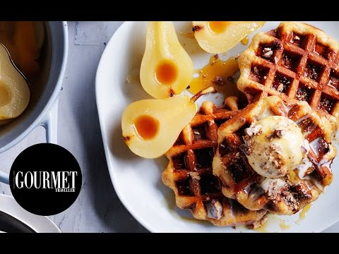 Overnight waffles, brown butter pecan ice-cream and spiced pears | Gourmet Traveller