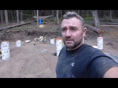 Off Grid Log Cabin Build - Foundation piers / Concrete forms