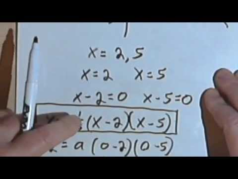 Finding the Quadratic Equation Given the Roots and a Point 070-27a070-27b