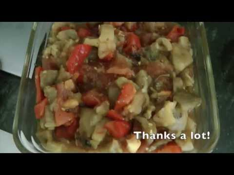 Oil free Baba Ghanoush or grilled aubergine with tomato sauce