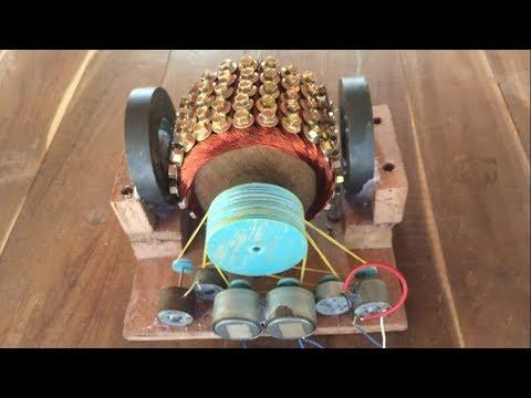 Experiment screw motor VS 6 DC motors , Energy generator 2017