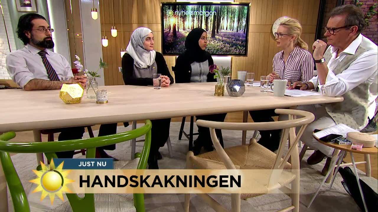 """Debatt om handskakning - """"Inte Sveriges största problem"""" - Nyhetsmorgon (TV4)"""