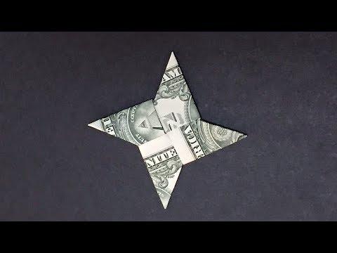 Dollar Bill Origami Ninjya-Star |  How to Fold Ninjya-Star out of Money |  Origami Easy but cool