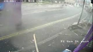 Number 17  Purple Bus Tileshurst Reading Hits Man at Full Speed outside Purple Turtle