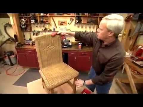 Danny painting a wicker chair
