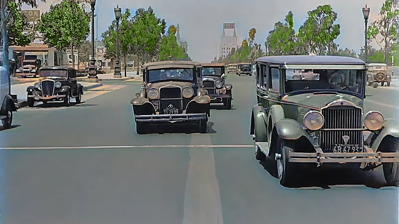California 1935, Wilshire Blvd in color [60fps, Remastered] w/added sound
