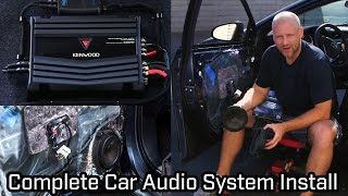 Full Car Audio System Installation Kenwood Speakers Subwoofer And Amp