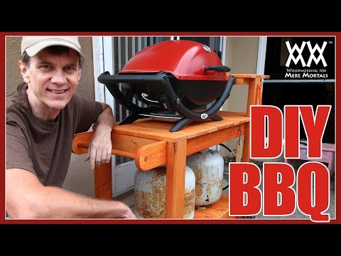 DIY Barbecue Grill Cart. Build it yourself! Easy woodworking project.