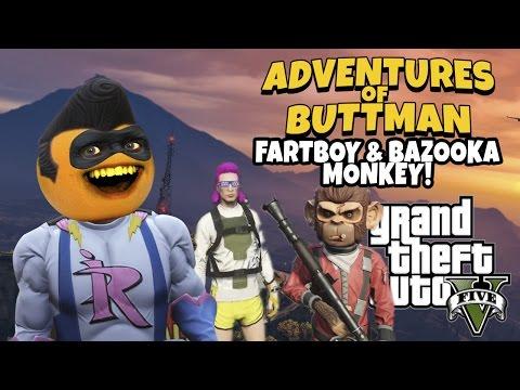 Adventures of Buttman #9: Fartboy and Bazooka Monkey! (Annoying Orange GTA V)
