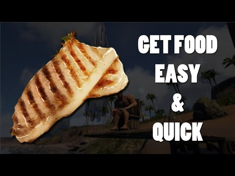 ARK: Survival Evolved PS4 - How to get food FAST and EASY! - 2017