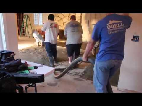 How to fill and Pour concrete in a sunken living room
