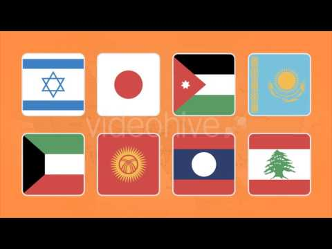 Flag Icons Asian Countries Squares Style Motion Graphics