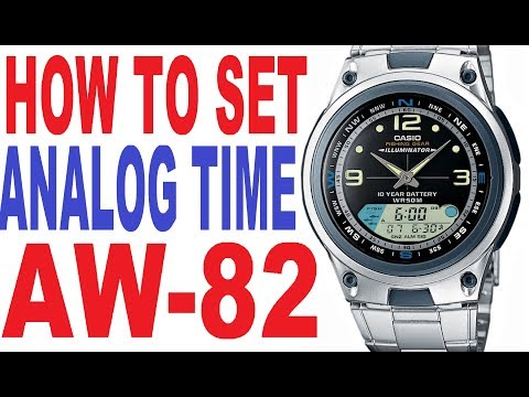 How to set analog time on Casio AW-82 manual for use