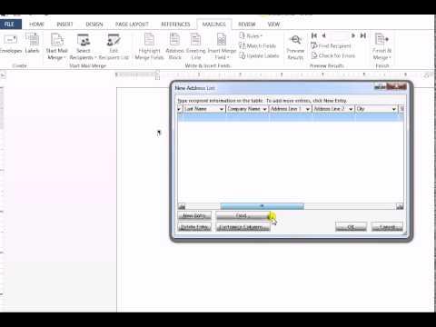 Mail Merge - Create a new Data Source