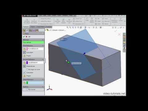 How to create a hole at an angle #2 - SOLIDWORKS tutorials (Fundamentals)