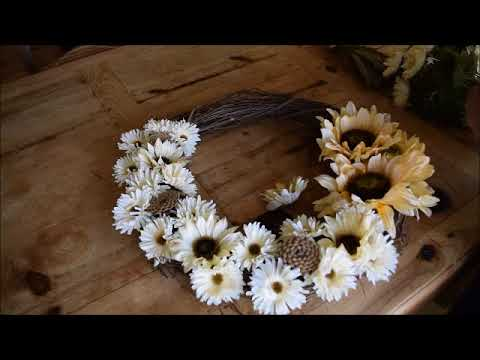 How to Make a Flower and Pinecone Wreath