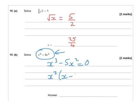 AQA Further Maths GCSE 2016 Paper 2 - Q15 - Solving Equations