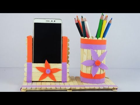 DIY Popsicle Phone Holder and Pen Stand - EasyCraft - Tcraft