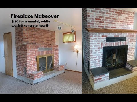 Fireplace Mortar Wash & Concrete Hearth Makeover.