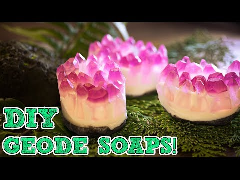How To Make CRYSTAL GEODE SHAPED SOAP BARS | Druzy Gemstone Soap Making Crafting Tutorial