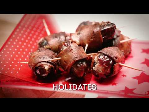 Holidates - Vegan cheesed-stuffed, bacon-wrapped dates using our streaky rashers.