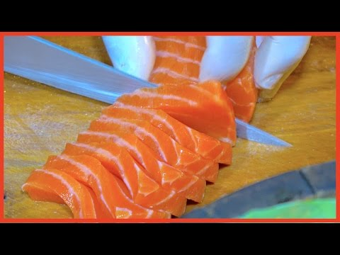 Fillet Salmon to Make Spicy salad and Salmon Sashimi | Street Food Raw