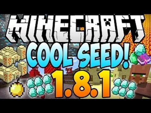 Minecraft 1.8.1 Seeds: COOL SEED! 11 Diamonds, Village at Spawn, Dungeon, Temple, Mushroom Biome