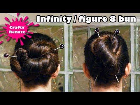 Long hair updos with hair sticks - figure 8 and infiinty bun