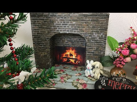 DIY cardboard fireplace for 18 inches dolls # American girl doll # Journey Girl dolls