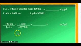 Unit Conversion 176 Liters Per 100 Kilometers L100 Km Converted To Mi
