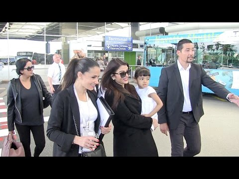 Exclusive - Aishwarya Rai and Daughter at Nice Airport