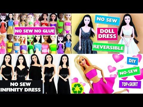 👚 👕 👗  How to Make Barbie No-Sew No-Glue Doll Clothes - simplekidscrafts