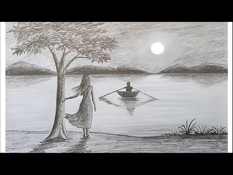 How to draw scenery of Moonlight night by pencil sketch.. step by step