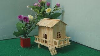 How to make ice cream stick house | Popsicle stick garden house
