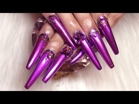 XXL Metallic Purple Acrylic Nails Full Set
