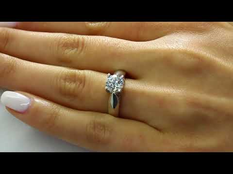 Solitaire Round Cut Diamond Engagement Ring in White Gold (MVS0023-W)