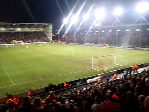 Blackpool fans singing at Liverpool home game