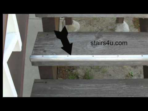 Aluminum Stair Tread Nosing On Wood Stairway - Safety And Step Protection