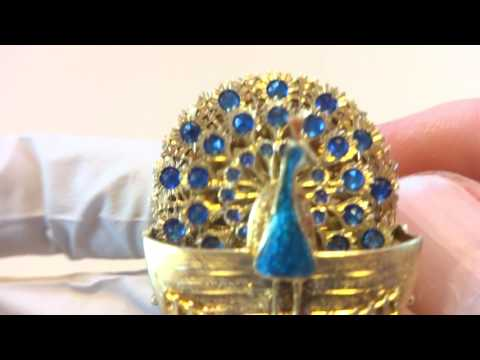 Antique enamel peacock automaton brooch pin jewelry. www.singingbirdbox.com