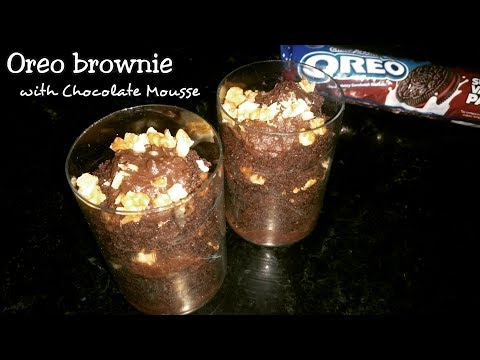 Oreo Brownie with CHOCOLATE MOUSSE|  OREO WALNUT BROWNIE CUPS| EGGLESS BROWNIE WITHOUT OVEN|