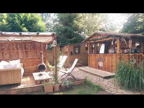 Custom Homemade Tiki Bar in the UK - Made From Wooden Pallets 🌞🍹🍻🍔🍗