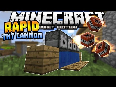 RAPID FIRE TNT CANNON in MCPE 1.1!!! Redstone Creation - Minecraft PE (Pocket Edition)