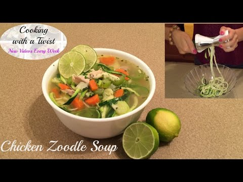 Chicken Zoodle Soup - Chicken Noodle Soup - Zoodle Recipes - Zucchini Noodles - Zucchini Pasta