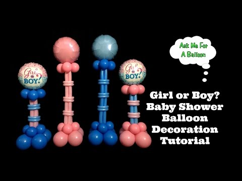 Girl or Boy Baby Shower Balloon Decoration Tutorial