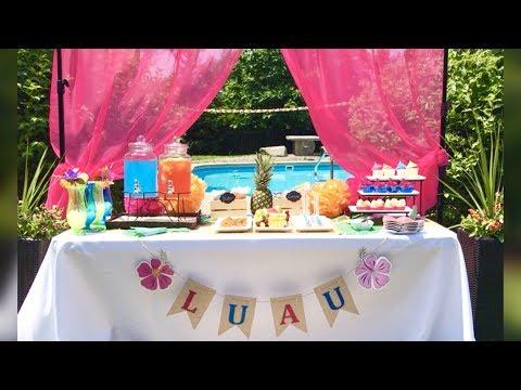 Hawaiian Luau Summer Pool Party | Tropical Dessert Buffet Table