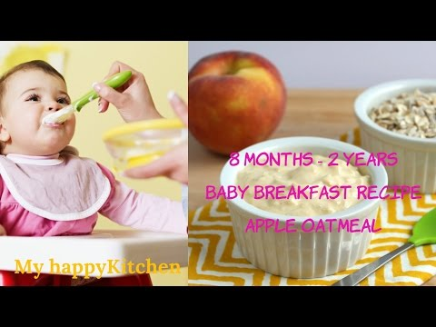 APPLE OATMEAL - 8+ months BABY BREAKFAST Recipes in Hindi (Stage 3 baby food recipes)